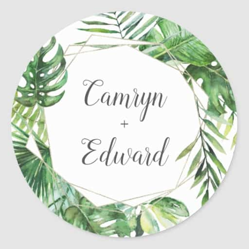 Wild Tropical Palm Geometric Wedding Envelope Seal