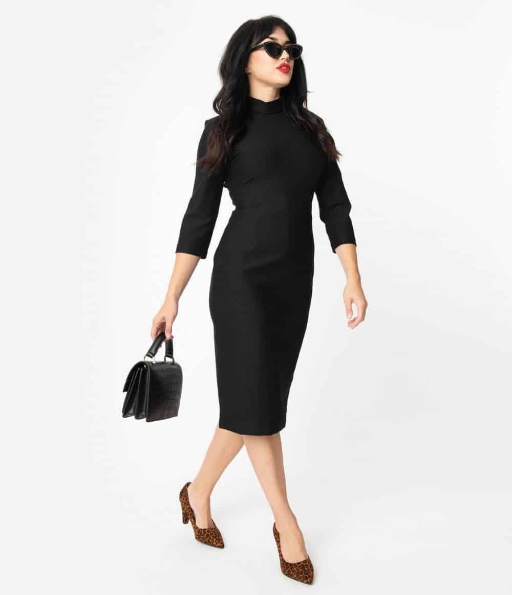 Glamour Bunny 1960S Style Black High Collar Secretary Pencil Dress