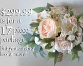 Wedding Bouquets, Bridal Bouquets, Bridesmaid Bouquets, Silk Flower Bouquets, Wedding Flowers, peach, blush, pink, burlap, Lily of Angeles
