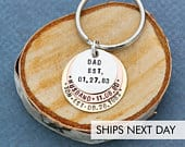 Personalized Dad Gift Husband Keychain Hand Stamped Mixed Metal Keychain Gift for Son Established Date Announcement QQQ