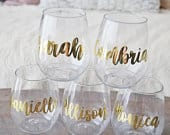 Personalized Stemless Plastic Wine Glass Sustainable Tossware Bridesmaid Proposal Gift Box Bachelorette Girls Night Out Wine Glasses