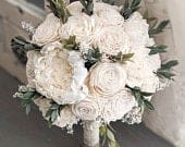 Ivory / Raw Sola Wood Flower Bouquet with Babys Breath and Greenery Bridal Bridesmaid Toss