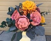 Spring Sola Wood Flower Bouquet Gold, Mauve, Spring, Easter, Custom, Gift, Mothers Day, Peony, English Rose, Perennial Posy