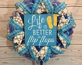Life is better in flip flops, Pool decor, blue and natural decor, Summer Decor, pool Wreath, Summer Wreath, Slim wreath, storm door, front d