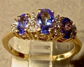 14K Gold Tanzanite Diamond ring.Vintage Solid Gold Ring.Genuine Rare Tanzanite,3 gemstones.Engagement ring.Wedding ring.Stunning Purple Blue