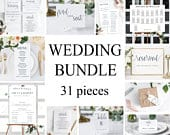 31 Piece Instant Download, Wedding Bundle, Welcome Sign, Wedding program, Wedding Menu Card, Table Numbers, Wedding Sign, Wedding Templates