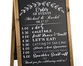 Wedding schedule decal for your DIY wedding sign. Order of events sign decal for any event. Custom wedding decal for event times.