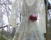 Lace floral dress wedding dress embroidered tulle ivory nude romantic boho antique outdoor medium by vintage opulence on Etsy