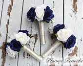 Wedding Bouquet, Navy and Ivory Bouquets, Bridesmaids bouquets, Wedding Flowers, Roses, Peonies