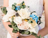 Blue, Yellow and Blush Bouquet Custom Wedding Bouquet Made to Order Forever Flowers Bridesmaid Bridal Bouquet Wedding Flowers