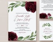 Burgundy Floral Wedding Invitation Suite, 100% Editable Template, Printable Invite, RSVP, Details, Boho Greenery, INSTANT DOWNLOAD 067B
