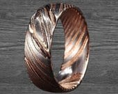 8mm Damascus Steel Ring Mens Wedding Band Damascus Rose Gold Ring Stainless Steel Rose Gold Wedding Band Unique Wedding Ring Mens Ring