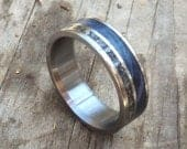 Mens Wedding Band Meteorite Wedding Ring for Him Blue Wood Ring Mens