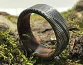 Damascus Steel Mens Ring with Zebrawood Damascus Steel Wedding Band