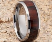 Koa Wood Tungsten Wedding Band Tungsten Wedding Ring Wood Wedding Band Anniversary Ring Men Women 8mm Koa Wood Ring