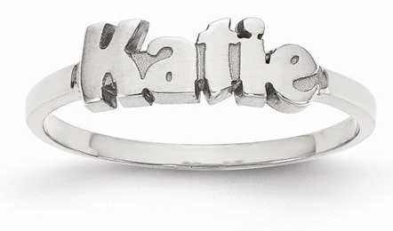 Personalized Polished Custom Name Ring, Sterling Silver