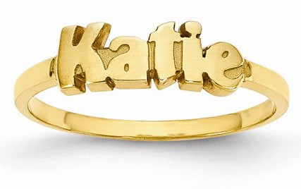 Custom 14K Gold Personalized Name Ring