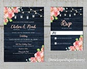 Rustic Navy Floral Summer Wedding Invitation,Pink,Blush,Coral,Roses,Fairy Lights,Navy Barn Wood,Rose Gold,Shimmery,Printed Invitation