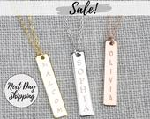 Personalized Vertical Name Bar Necklace Custom Vertical Necklace Mothers Day Engraved Necklace Christian Necklace Roman Numeral Necklace
