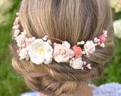 Blush, coral, and Ivory bridal headpiece Coral headpiece. Fall wedding headpiece. Ivory bridal comb. Coral floral hair piece Floral haircomb