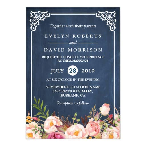 Rustic Floral Blue Chalkboard Formal Wedding Invitation