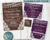 Rustic Lace Wedding invitation, ANY COLOR, Rustic Wedding invitation, rustic invitations, Plum wedding invitation, plum wedding invitations