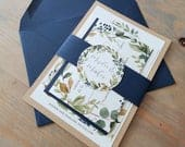 Rustic Navy Wedding Invitation, Rustic Wedding Invitation Suite, Lace Wedding Invite, Barn Wedding Invitation, with belly band, RC18015