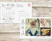 Calendar Save The Date Postcard, Postcard Save the Date, MultiPhotograph Save the Date, Save the Date Postcard with Multiple Photos