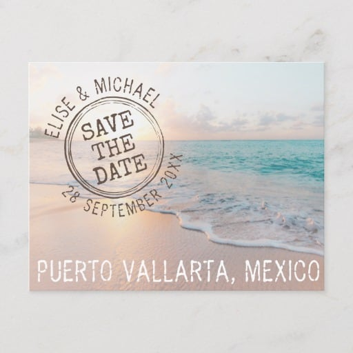 Beach Wedding Sunset Passport Stamp Save the Date Announcement Postcard