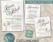 Beach Wedding Invitations, destination wedding, palm trees, Rustic wedding, rustic beach wedding invitation