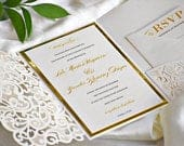 Gold and Ivory Laser Cut Wedding Invitation. Raised Printing. Whimsical Wedding. Elegant Invitations. Eloquence Design