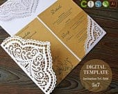 Lace wedding Invitation template SVG envelope trifold for papercut laser cutting (svg, dxf, ai, eps, cdr) vector file, rustic Cameo Cricut