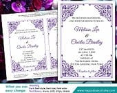 DiY Printable Wedding Invitation Template Instant Download EDITABLE TEXT Purple Lavender lace 5x7 Microsoft Word Format HBC10n