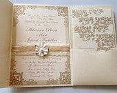 Lace/Ribbon Floral Damask Wedding Invitations With Pocketfold