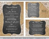 Editable Printable Rustic Wedding Invites, Engagement Invitation Template Download Set Vintage Burlap Lace, RSVP, Wishing Well or Info Card