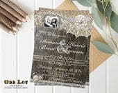 Photo Wedding Invitation, Rustic Wedding Invite, Printable Wedding Invitation, Lace, Wood Planks, Digital Invitation, Country, Wood Lace