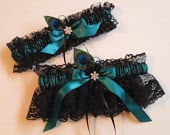 Black Lace Wedding Garters, Dark Teal Garters, Peacock Garter, Something Blue Garters, Black Teal Bridal Garters, Gothic Wedding, Art Deco