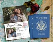 Vintage PassportStyle Save the Date OR Wedding Invitation, Editable, Printable Template, Customize for any event!