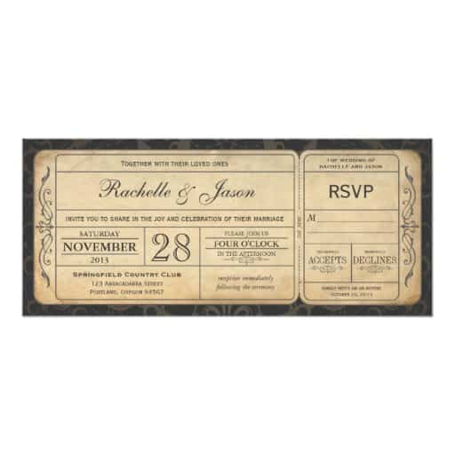 Vintage Wedding Ticket Invitation with RSVP 3.0