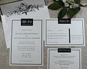 Black and White Monogram Wedding Invitations, RSVP, Details, Vintage Birds Envelope Liner, Pearlized Textured Cardstock