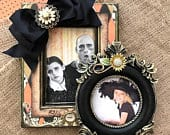 QUICK Halloween Photo Frame Set Personalized Bow Jewel Black Orange Name Plaque Baby Child Trick or Treat Pumpkin Patch Fall Decor