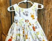 Woodland animal dress, forest animals dress, woodland animals dress for girl, animals dress baby, twirl dress, toddler dress