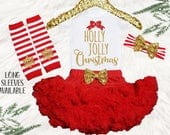 My 1st Christmas baby girl outfit, Red chiffon Christmas pettiskirt, my first holly jolly Christmas outfit, Santa baby dress