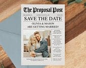 Newspaper Save the Date Template Save The Date with Photo Unique Save The Dates Wedding Printable Template Instant Download News