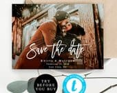 Save the date photo template Instant download Wedding save the date cards Photo save the date template Custom save the date Templett vm91