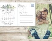 Calendar Save The Date Postcard, Postcard Save the Date, Photograph Save the Date, Save the Date Postcard with Photo, Greenery Save the Date