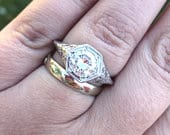 Antique Art Deco Edwardian Hexagon 2 carat Moissanite Engagement Wedding Ring Sterling Silver Filigree
