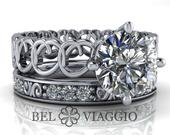 Moissanite Bridal Set Moissanite Engagement Ring Wedding Band 1.86 CTW