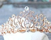 Bridal Tiara Crystal Rose Gold Tiara CAROLINE, Swarovski Bridal Tiara Crystal Wedding Crown Rhinestone Tiara Wedding Tiara, Diamante Crown