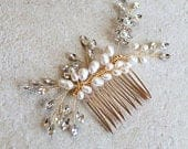 Gold Freshwater Pearl Delicate Hair Vine Comb. Bridal Flower Crystal Boho Leaf Headpiece. Rhinestone Wedding Hair Clip, Pin,Tiara. VALENTINA